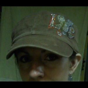 Rainbow Rhinestone LOVE Brown Cap